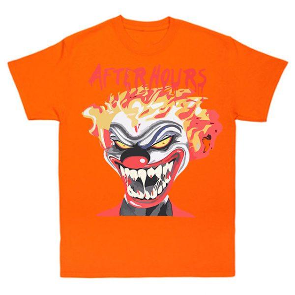 Vlone-Weeknd-After-Hours-If-I-OD-Clown-Tee-Orange-600x599